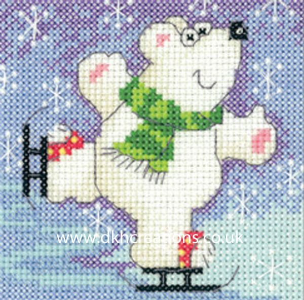 Karen Carter Christmas Polar Bear Greeting Card Cross Stitch Kit